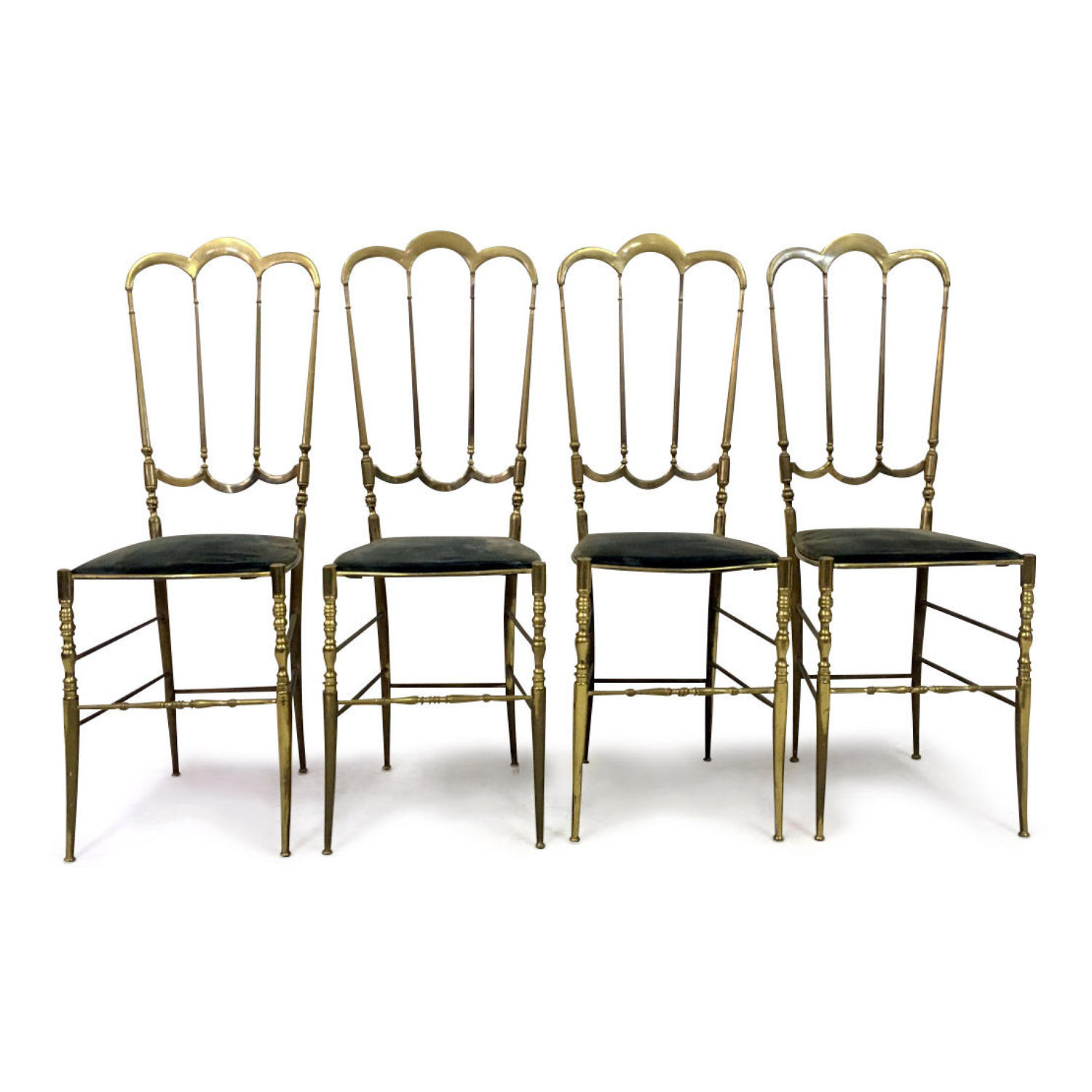 A set of four brass Chiavari side chairs