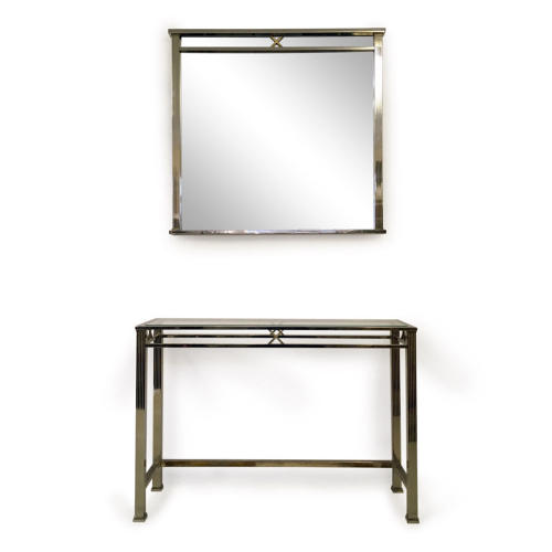 1970s steel and brass console table and mirror