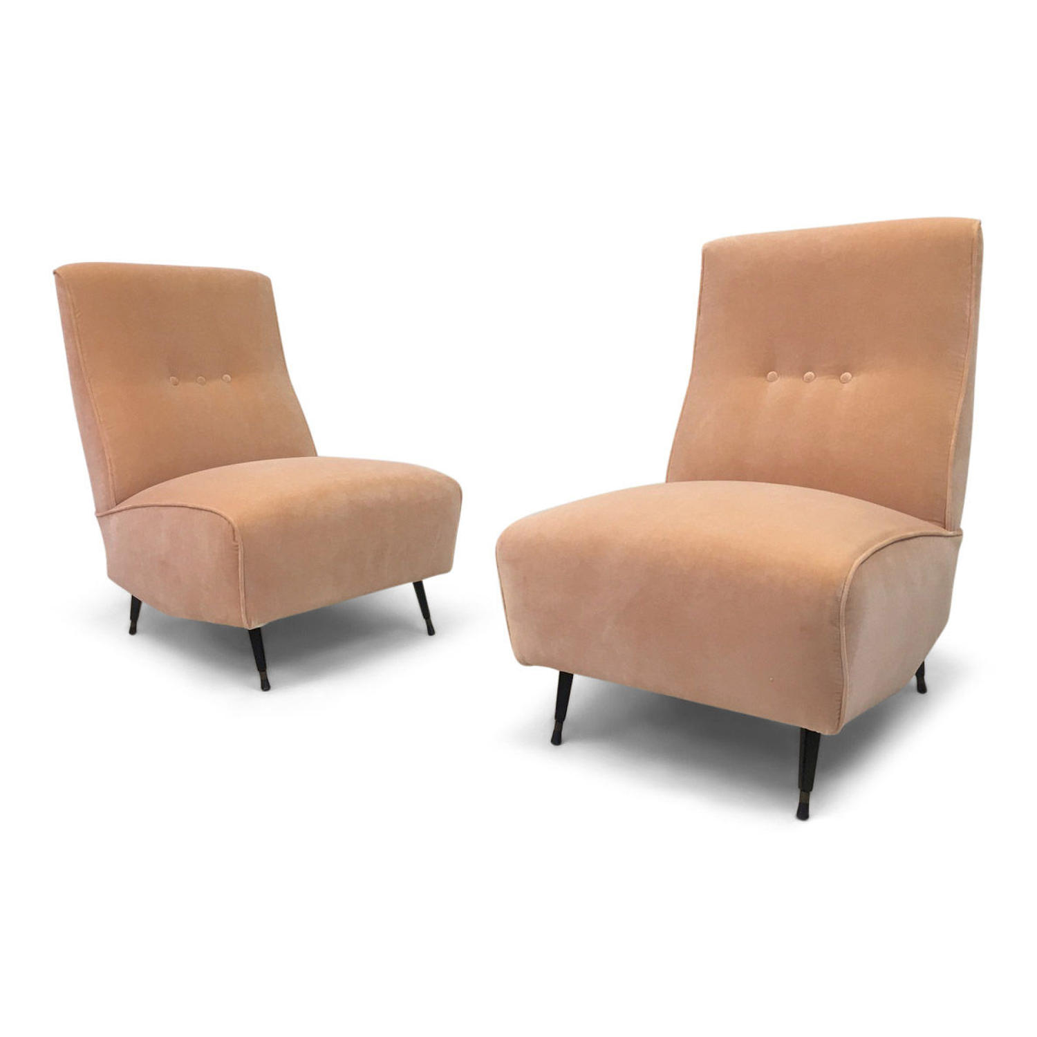 A pair of 1950s Italian lounge chairs in peach velvet