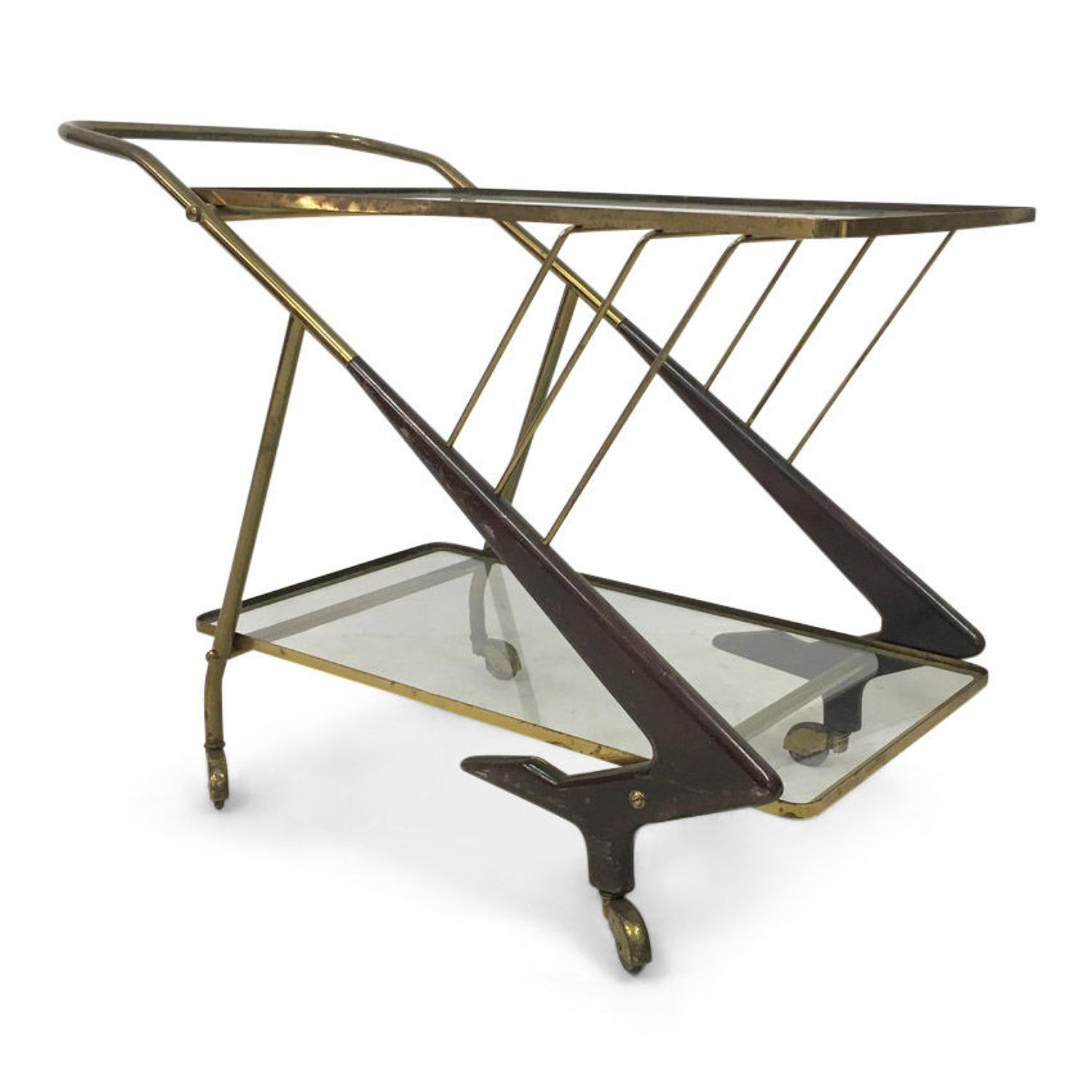 1950s Italian brass and wood drinks trolley or bar cart