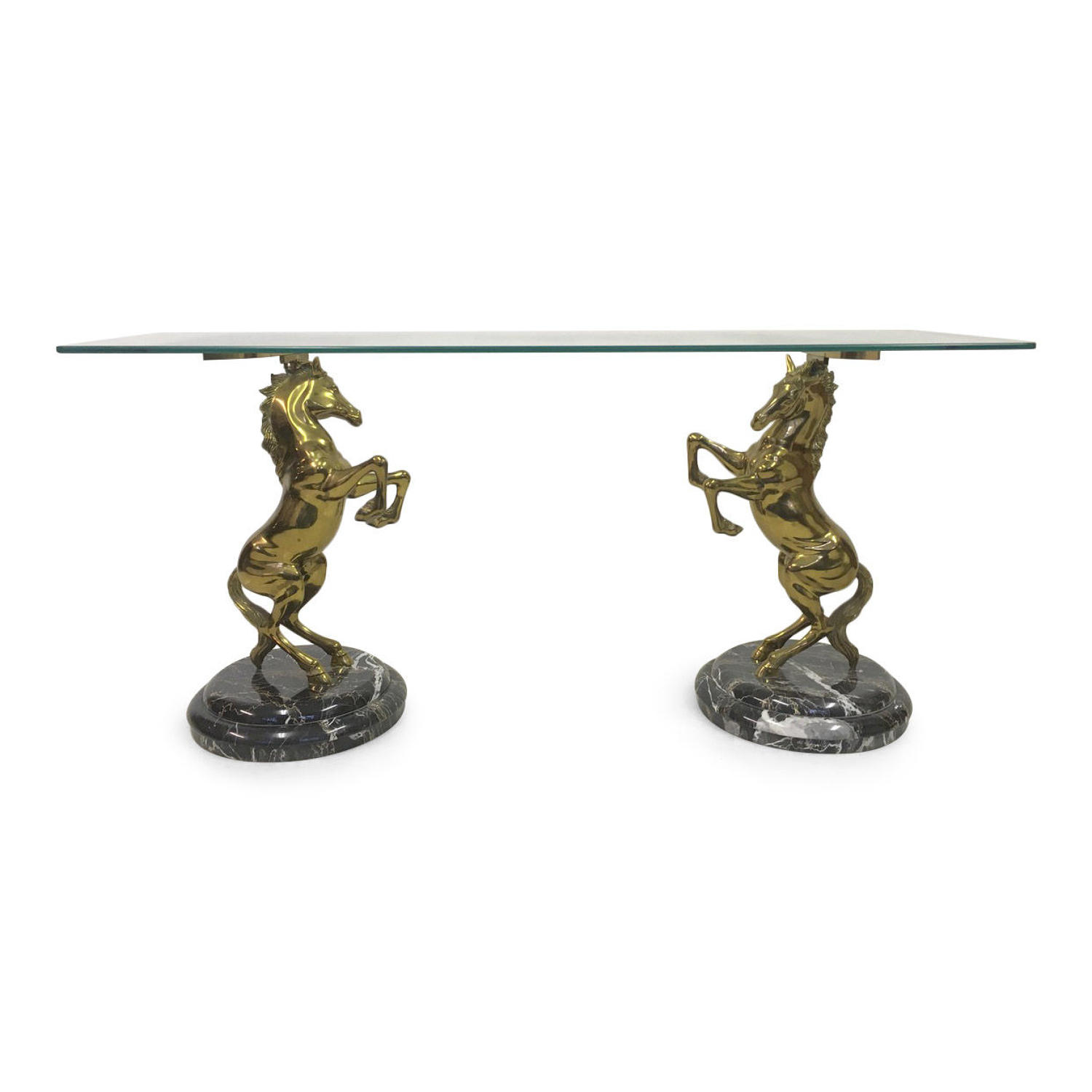 1970s Italian brass horse and marble console table