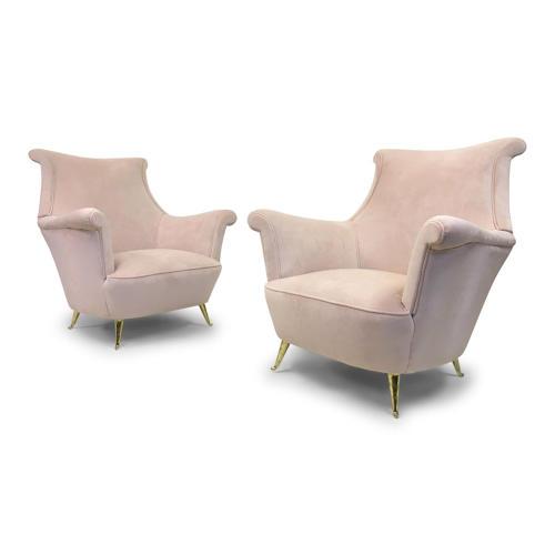A pair of 1950s Italian armchairs in pink velvet