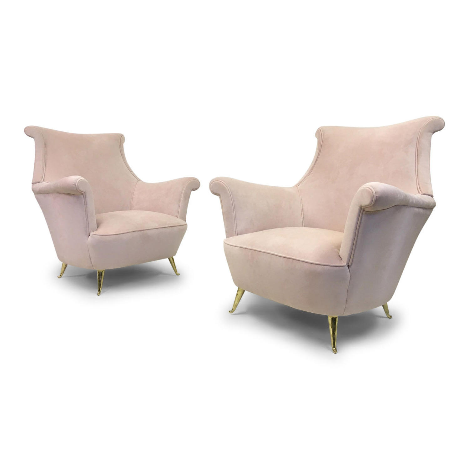 A pair of 1950s Italian armchairs in pink velvet