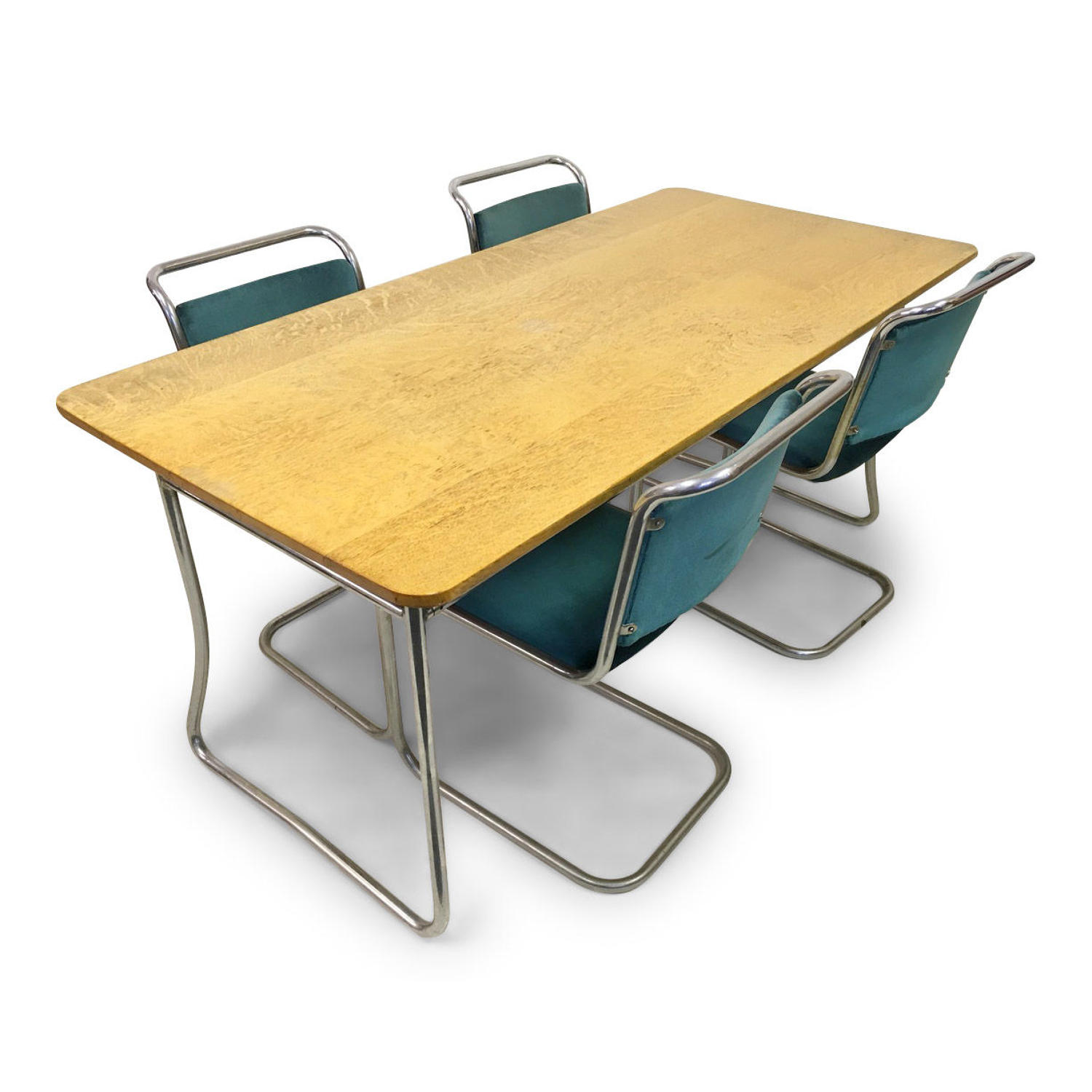 A 1930s tubular steel dining set by PEL