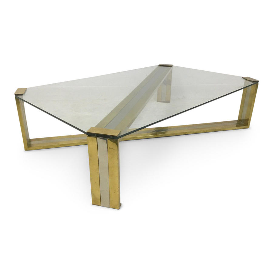 Large 1970s Italian brass and chrome coffee table by Romeo Rega