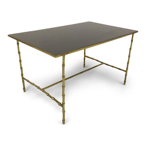 Brass bamboo coffee table with black glass