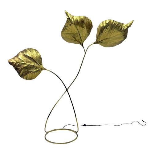 1970s brass rhubarb leaf floor lamp by Tommaso Barbi