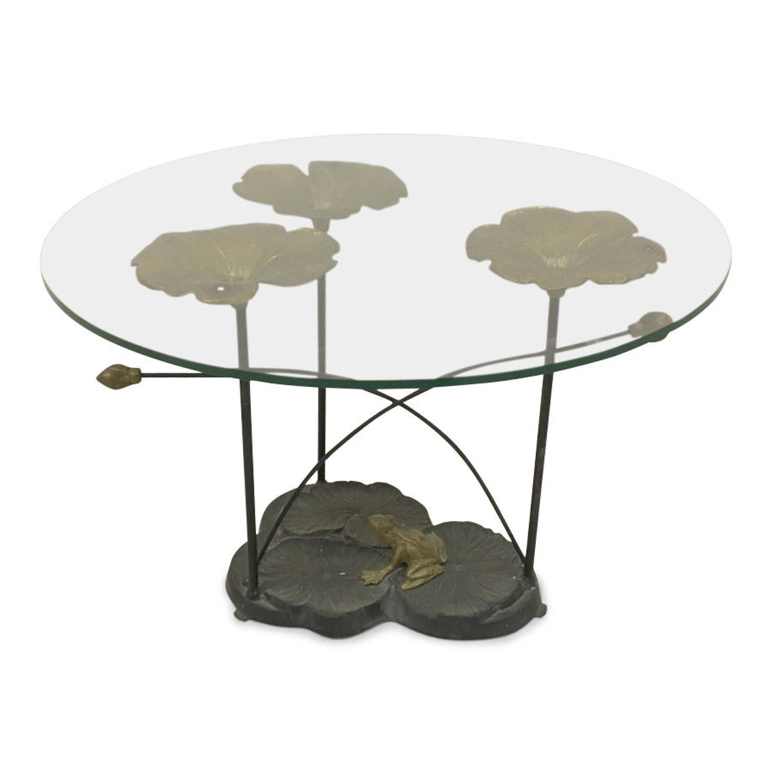 1970s brass and iron lily pad coffee table