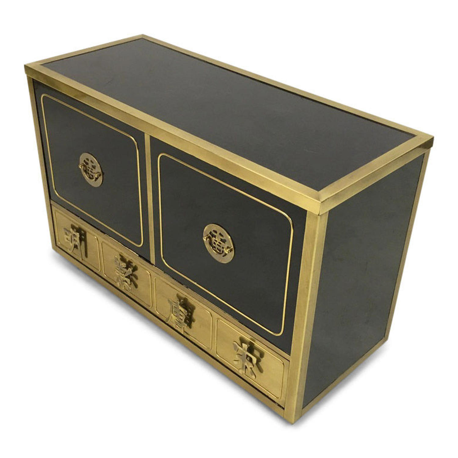 Black lacquer and brass cabinet by Mastercraft