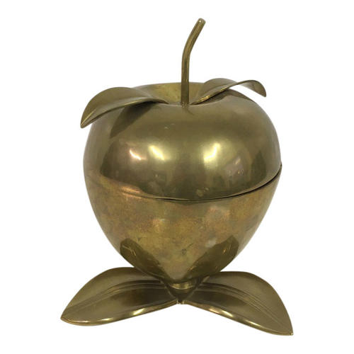 1970s brass apple storage bowl
