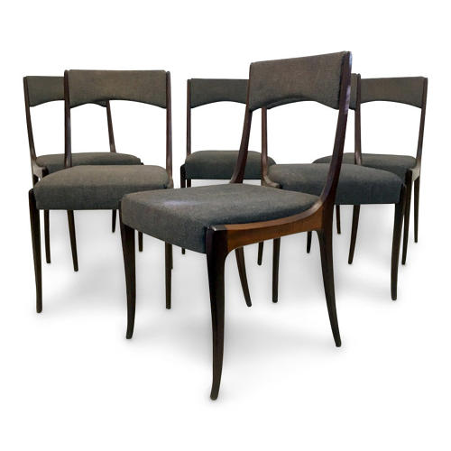 A set of six 1960s Italian teak dining chairs