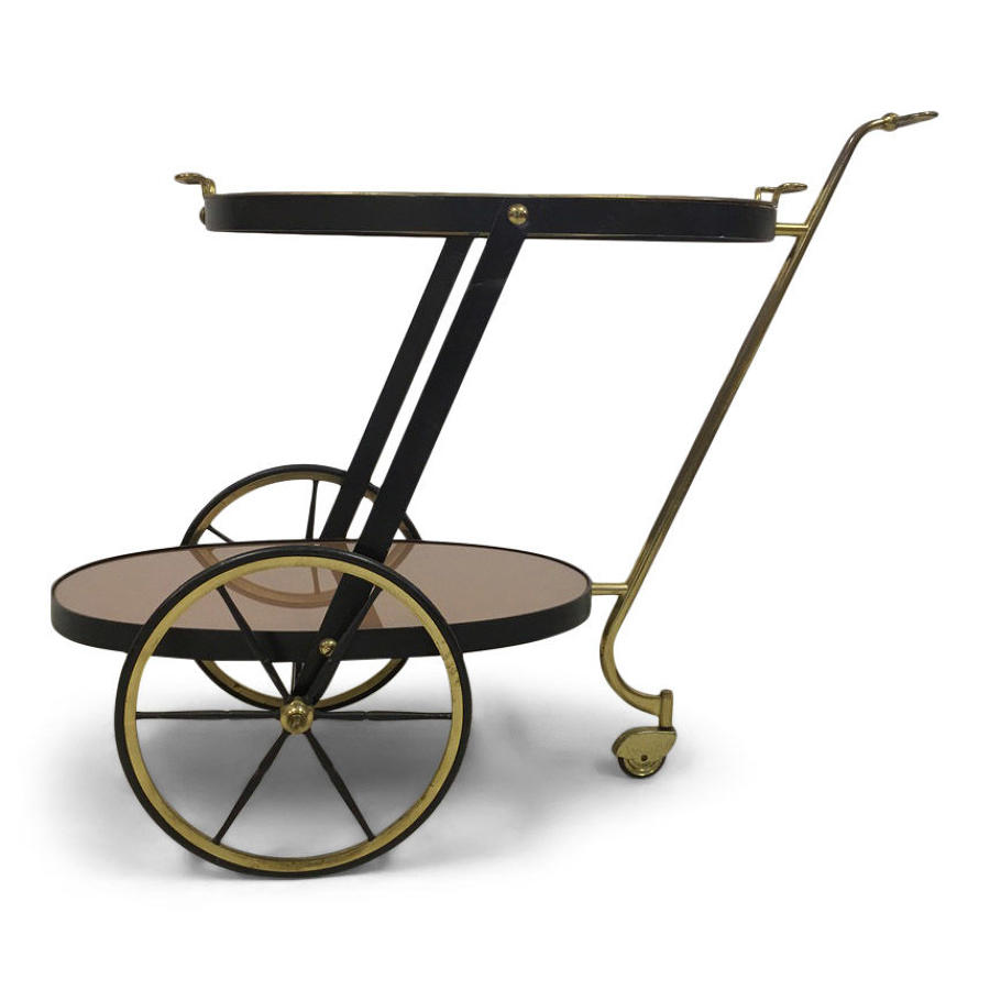 1960s brass and black metal drinks trolley