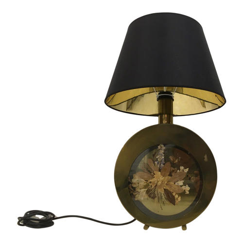 1970s Italian brass table lamp with flowers