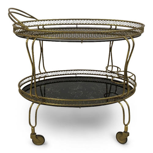 1960s Italian brass drinks trolley