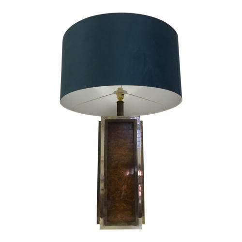 1970s Burl wood, brass and chrome table lamp
