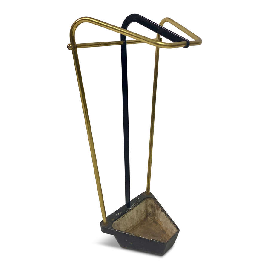 1950s Austrian brass and iron umbrella stand