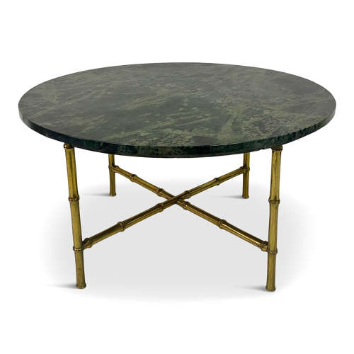 1960s marble and brass faux bamboo coffee table