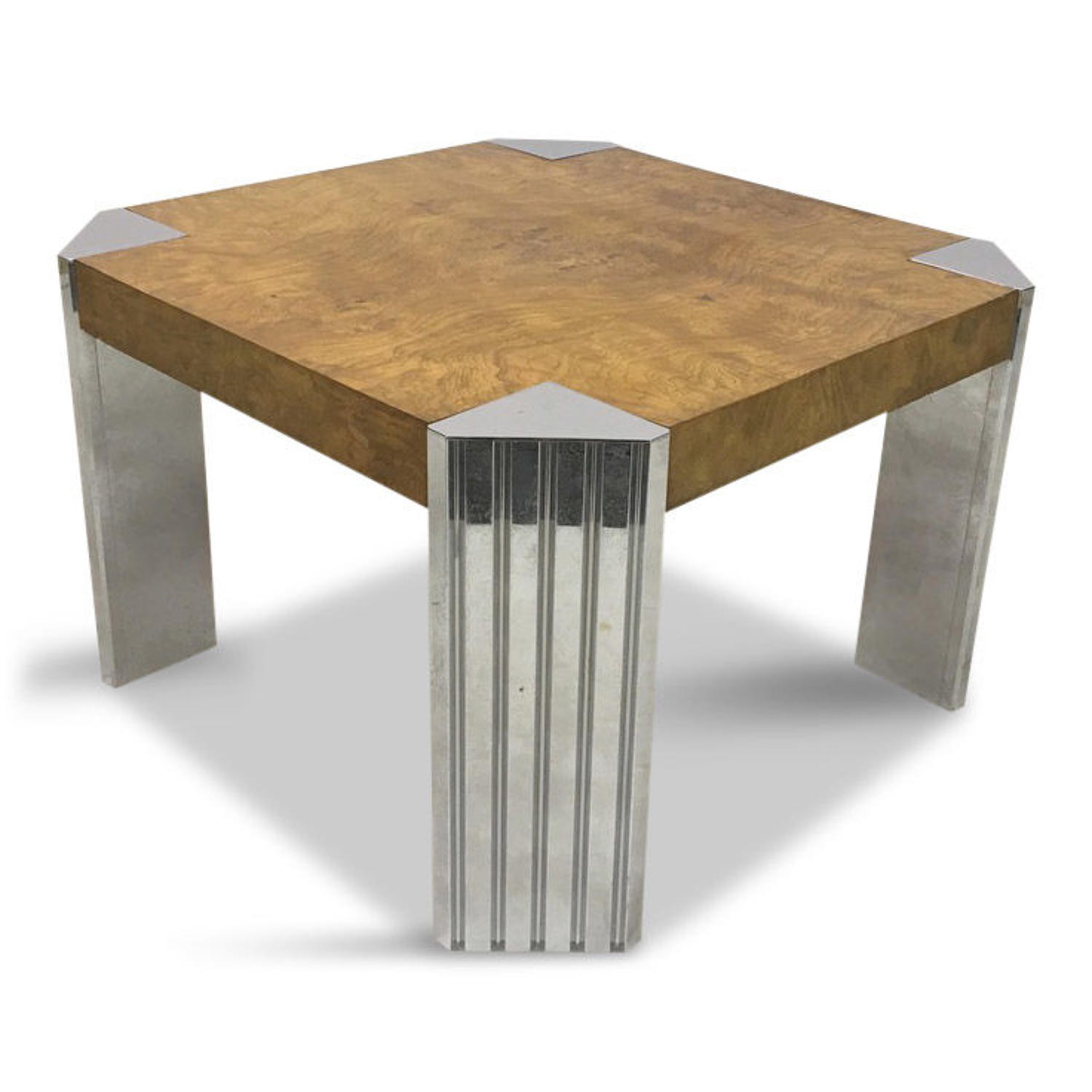1970s burl wood and chrome coffee table by Milo Baughman