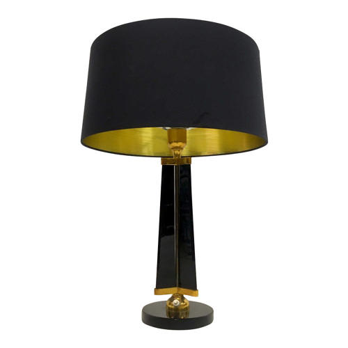 1950s black glass and brass table lamp possibly by Stilnovo