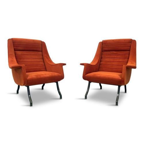 A pair of 1960s Italian armchairs in orange velvet