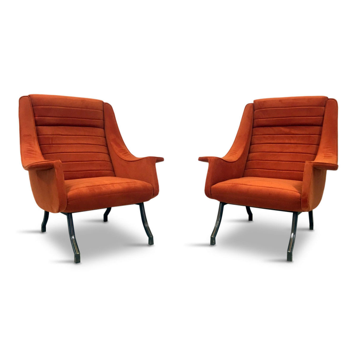 A pair of 1960s Italian armchairs in orange velvet