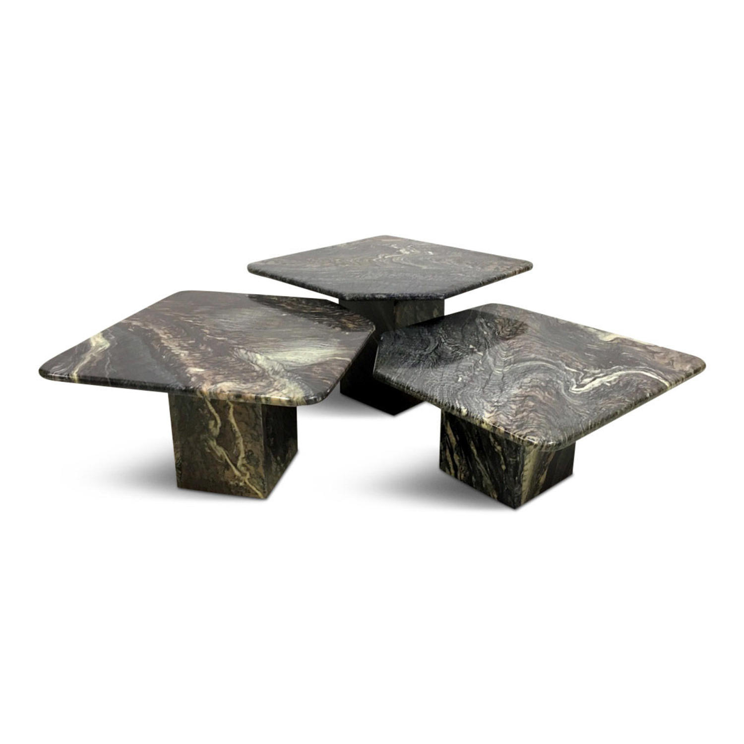 A vintage set of Italian marble coffee tables