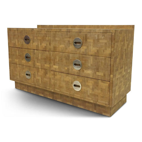 1970s Italian patchwork bamboo chest of drawers