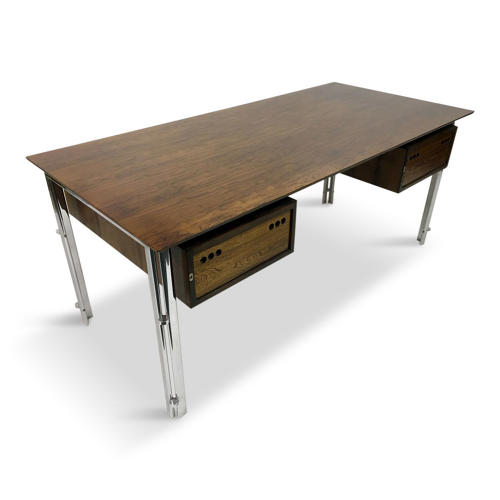 1970s rosewood and chrome desk