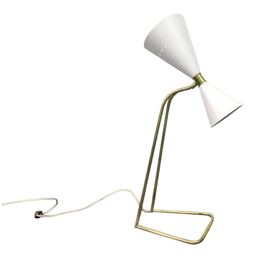 1950s style Italian brass and enamel desk lamp