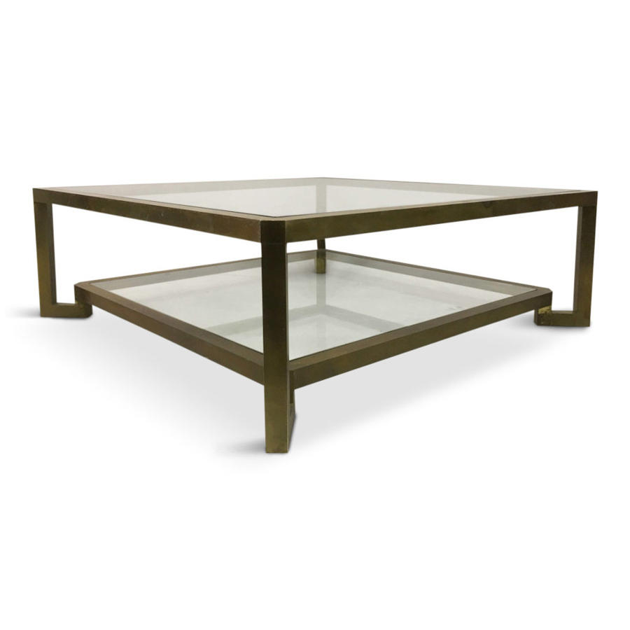 Large 1970s Italian brass two tier coffee table