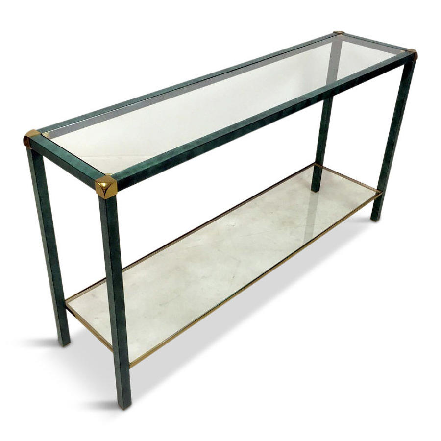 A 1970s French green and brass console table