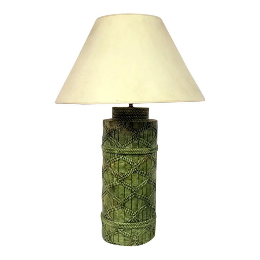 1970s Italian faux rattan ceramic lamp in green