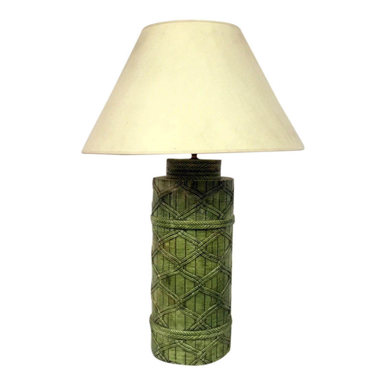 1970s Italian faux rattan ceramic lamp in green