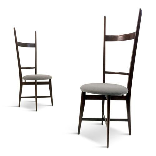 A pair of 1960s Italian teak high back chairs