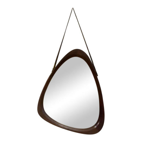 1960s Italian teak mirror with leather hanging strap