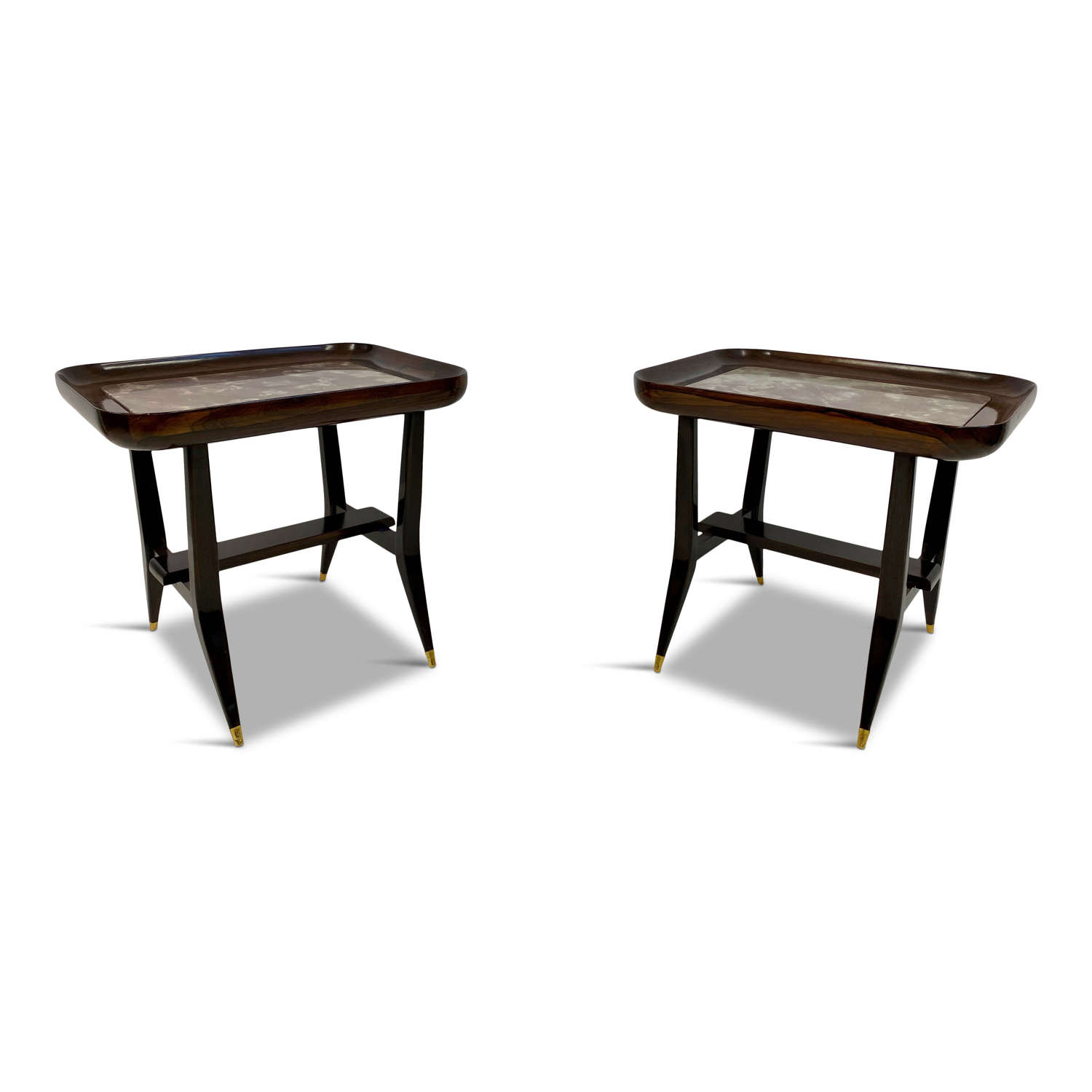 Pair of Rosewood and Marble Side Tables by Giuseppe Scapinelli