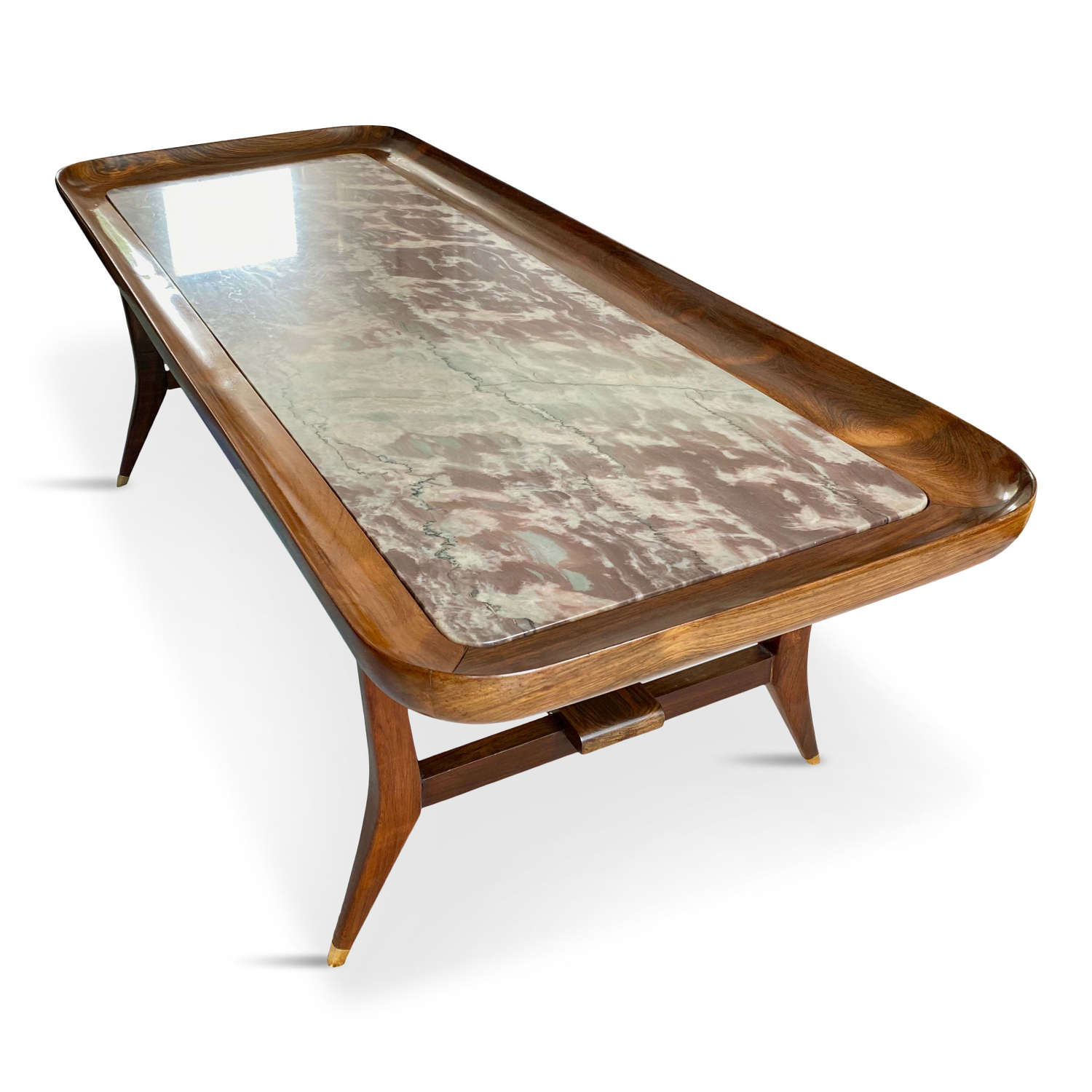 Rosewood and marble coffee table by Giuseppe Scapinelli