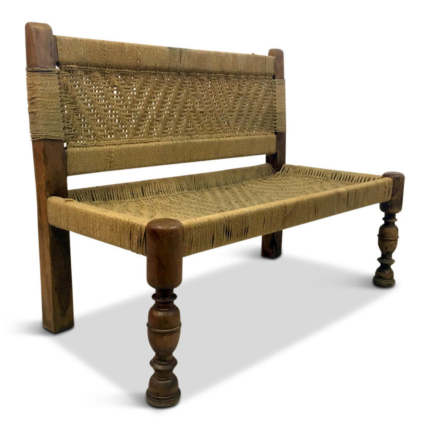 Woven rope bench in the style of Audoux and Minet