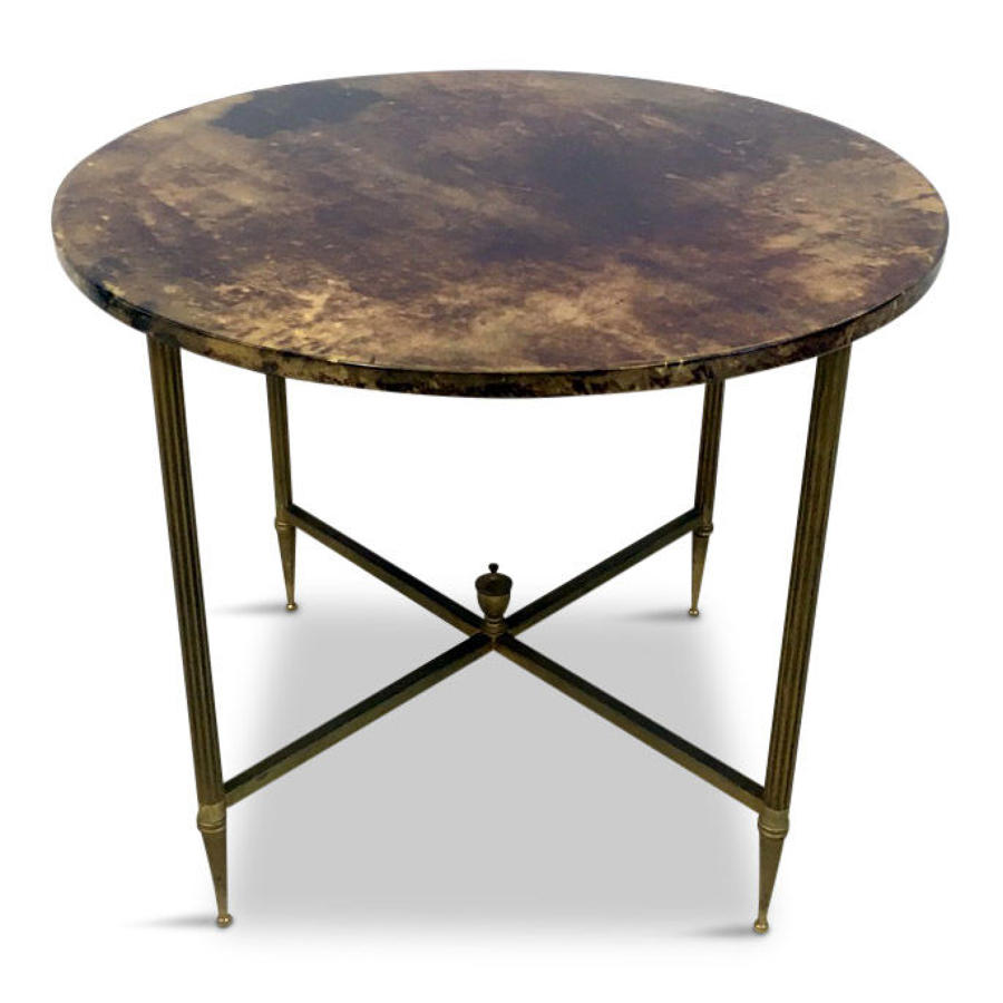 Lacquered goatskin and brass coffee or side table by Tura