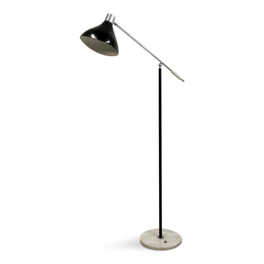 1960s Italian chrome and enamel floor lamp