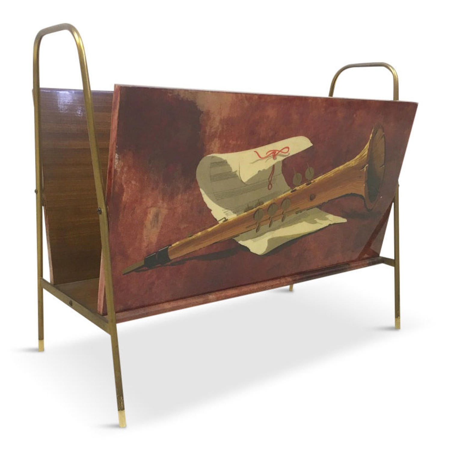 1960s Italian lacquered goatskin and brass magazine rack