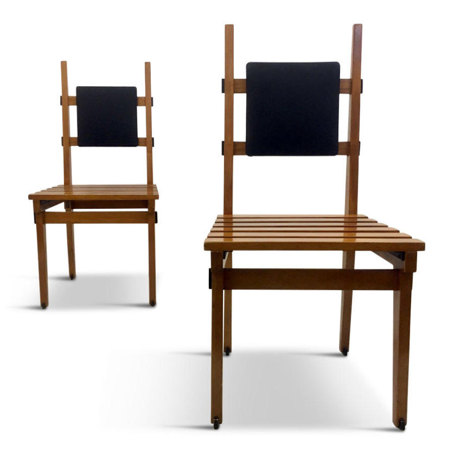 A pair of unusual Italian side chairs