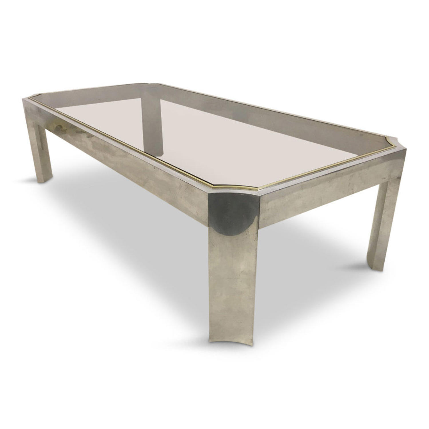 1970s aluminium and brass coffee table