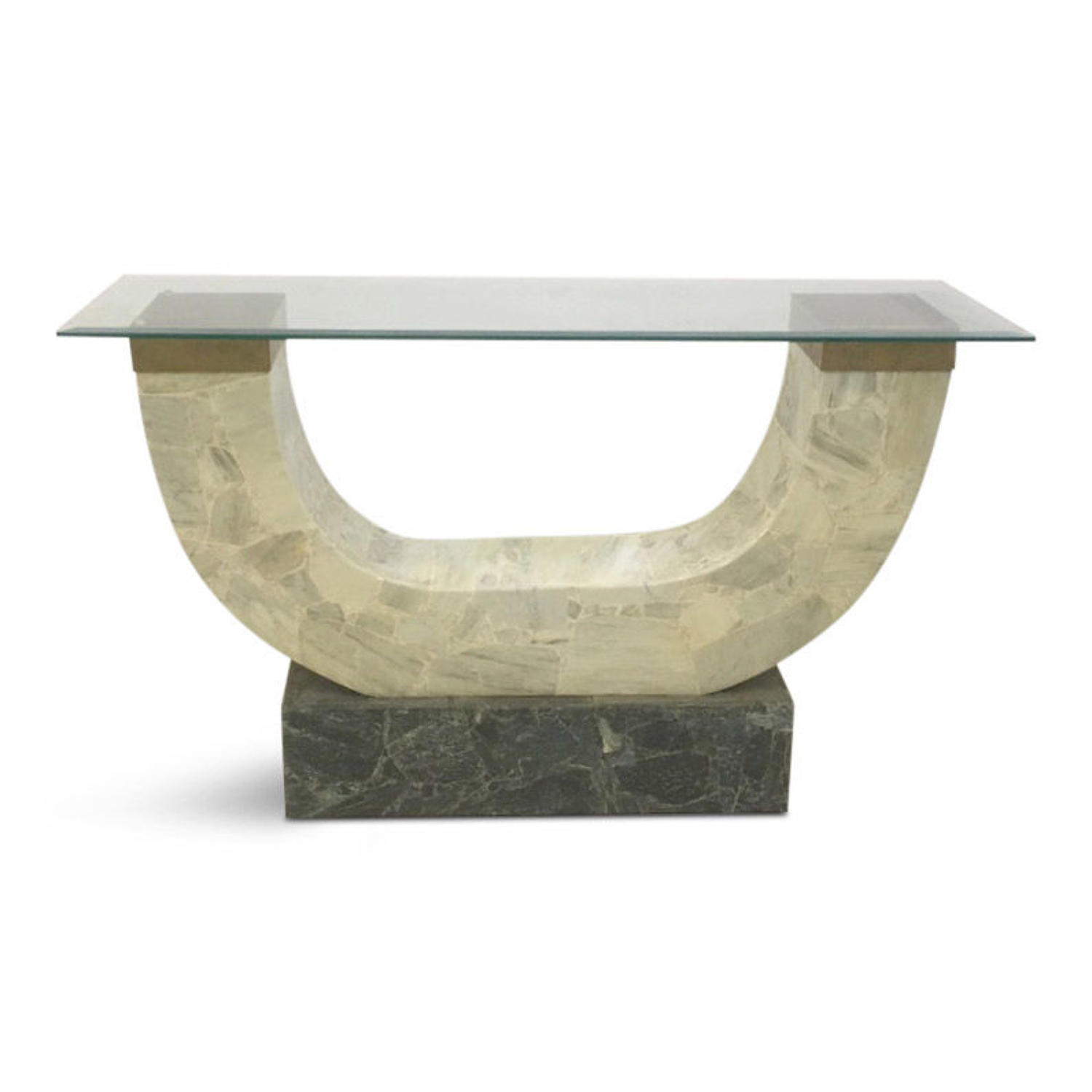 A 1970s tessellated marble and brass console table
