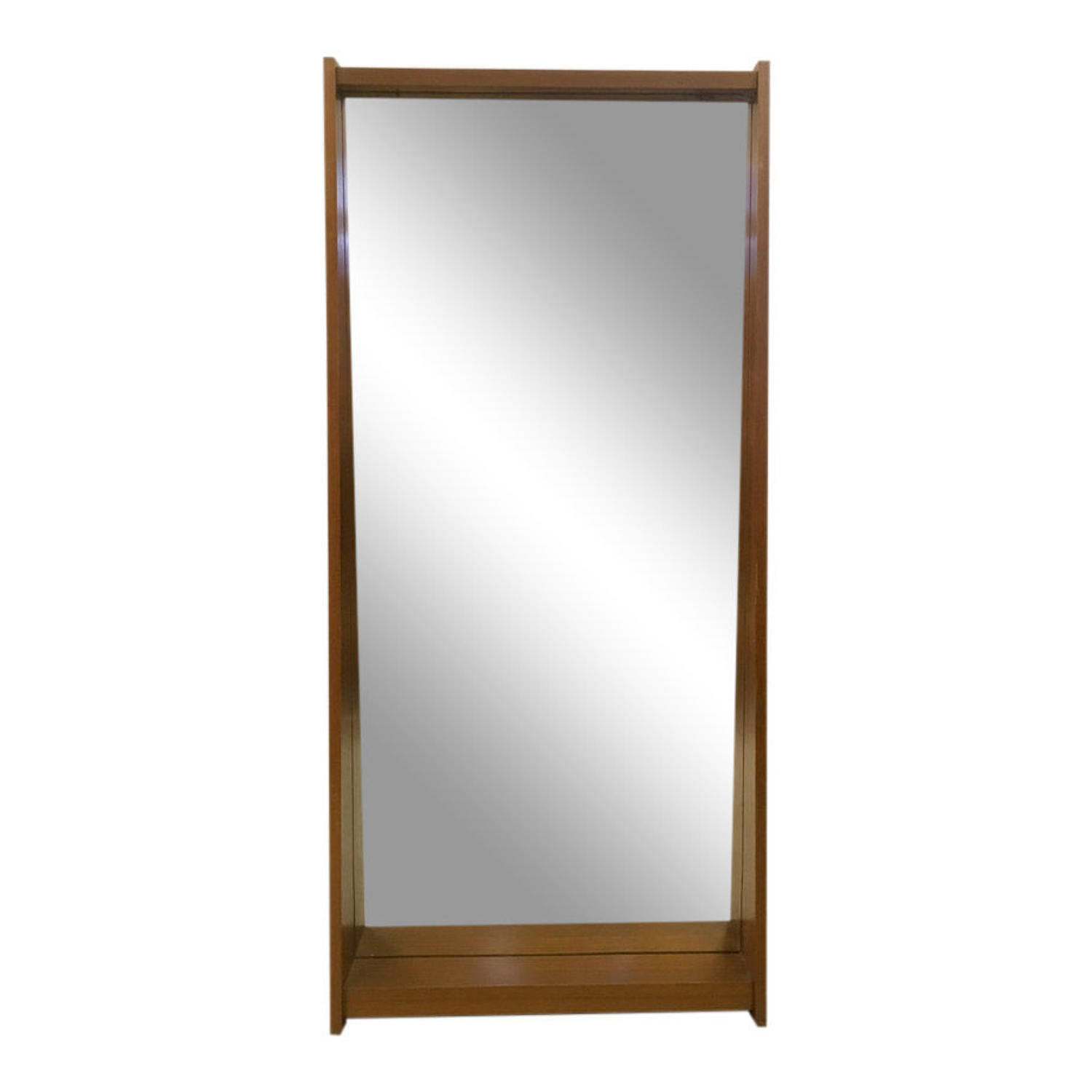 1960s Italian teak mirror in sloping form