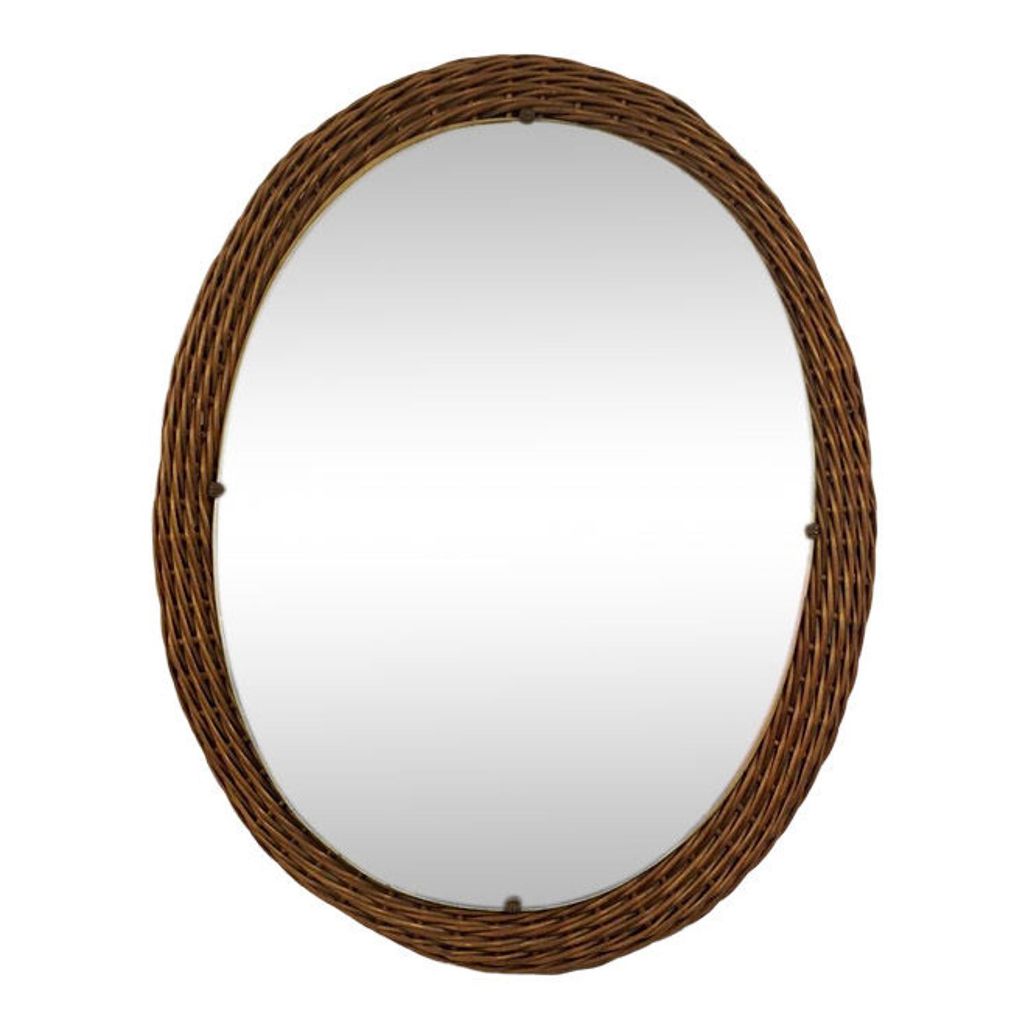 1950s Italian wicker wall mirror
