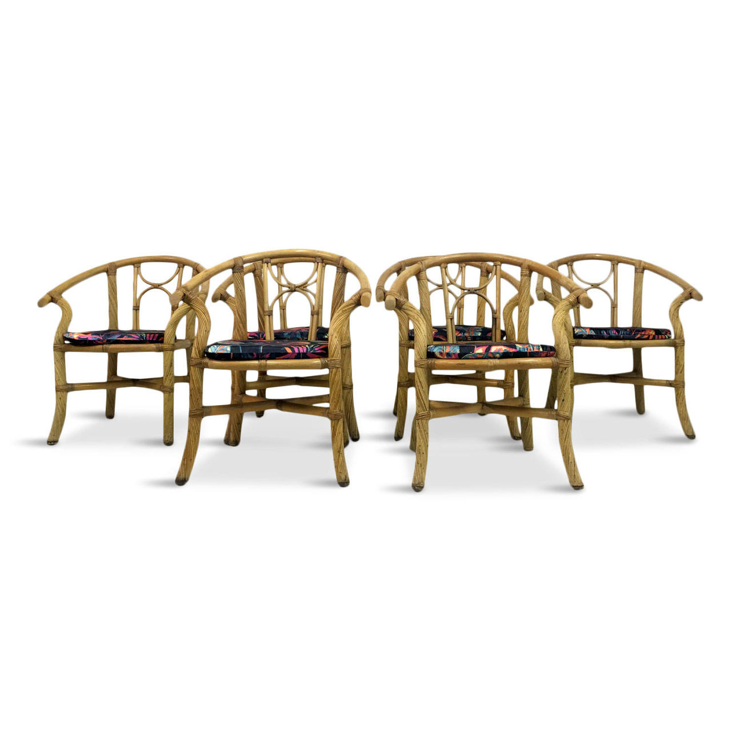 Set of six 1970s Italian bamboo armchairs