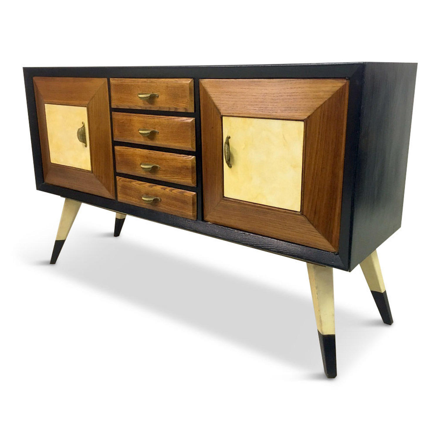 1940s Italian ebonised, oak and parchment sideboard
