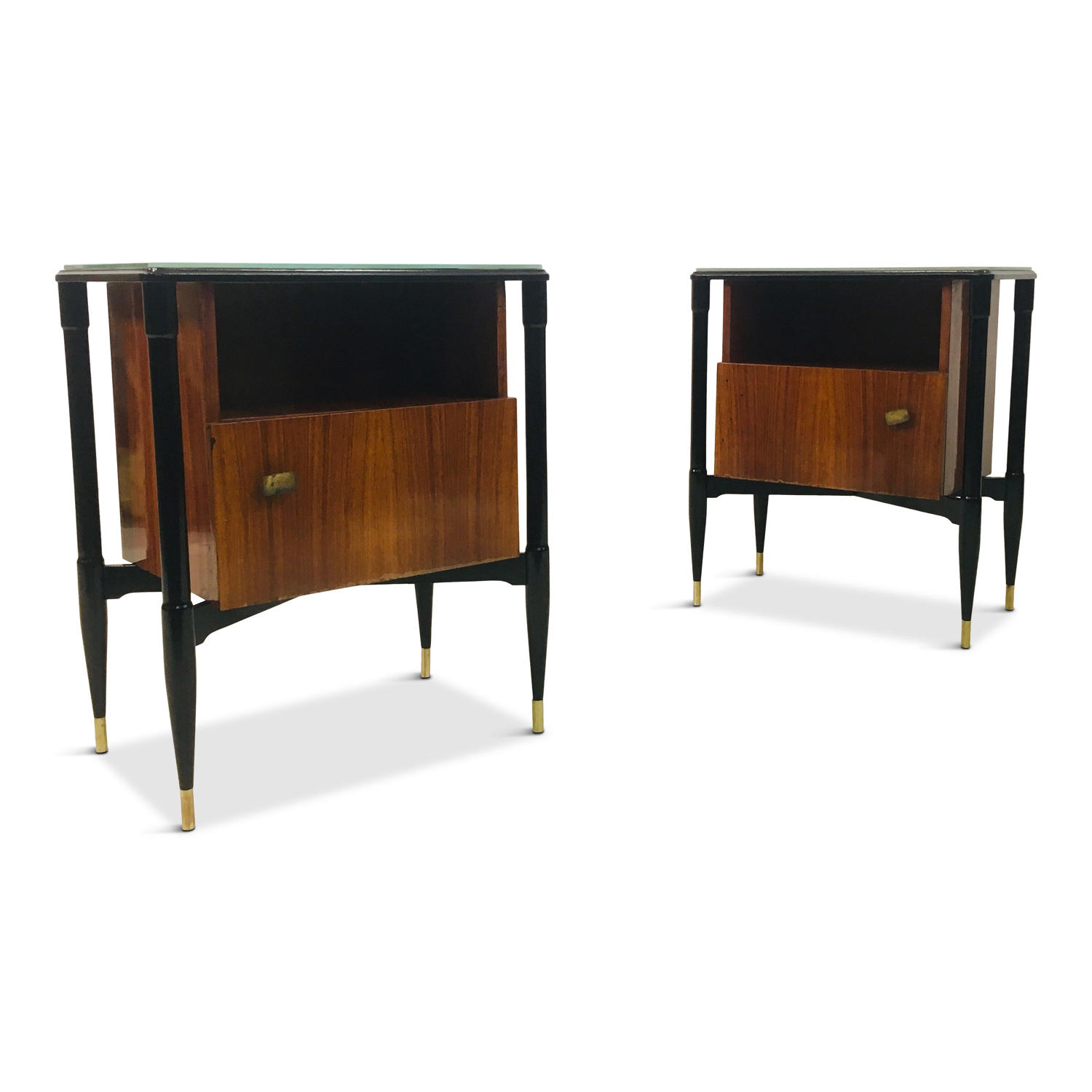A pair of 1950s Italian mahogany and ebonised bedside tables