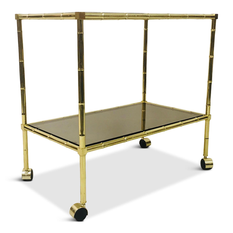1970s Italian brass faux bamboo trolley